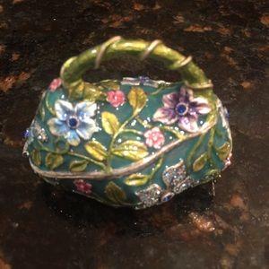 Enamel Rhinestone Studded Handbag Keepsake Box